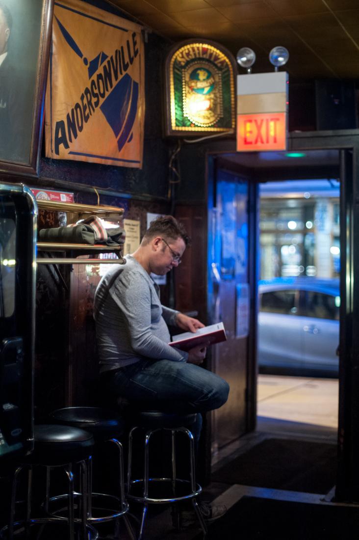 The well read door man.
